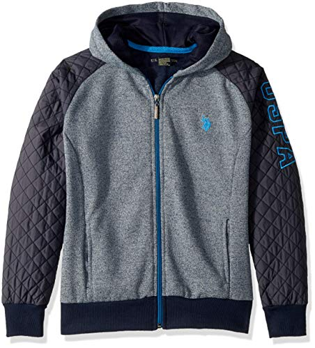 (U.S. Polo Assn. Big Boys' Hooded Zip or Snap Fleece Jacket, Quilted Sleeves Marled Navy, 10/12)