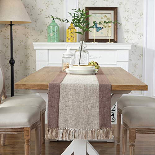 Bigcozy Tassels Thick Solid Table Runner | Cotton Linen Farmhouse Table Runner with Fringe for Living Room Coffee Dining Table (15