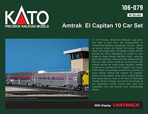 Kato USA Model Train Products Amtrak El Capitan Car Set with Display Unitrack, 10-Piece (N Scale Amtrak)