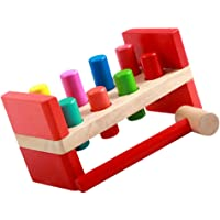 TOYANDONA 1 Set Wooden Pounding Bench Hammer Toy Kids Coordination Pounding Bench Beat Toy Kindergarten Kids Toys