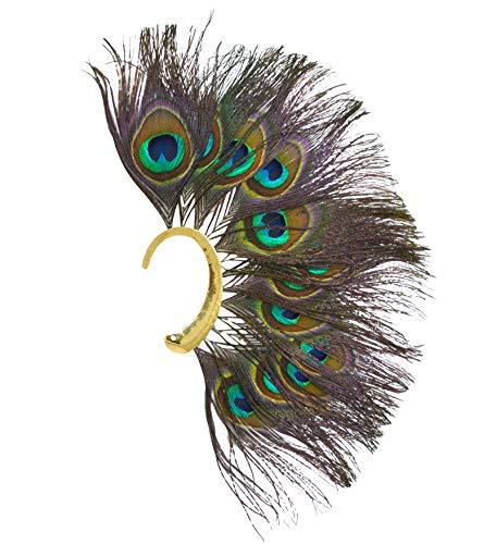 L'vow Bohemian Style Peacock Feather Single Ear Cuff Non Piercing Earring Wrap (Green) -