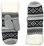 Isotoner Women's Sherpasoft Fairisle Mitten with Sherpa Cuff, Oxford Heather, One Size