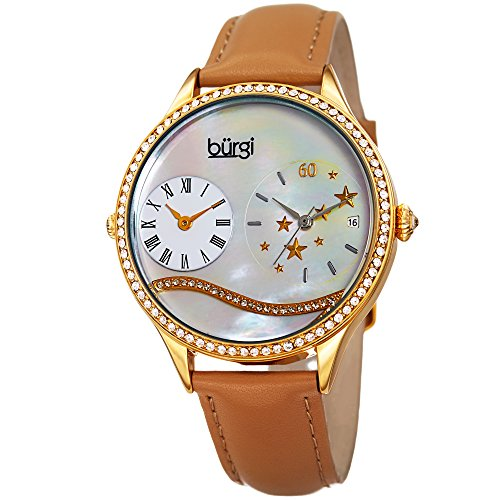 Burgi Women's Dual-Time Quartz Crystal Accented Mother of Pearl Dial Gold-Tone and Tan Leather Strap Watch - BUR184TN (Pearl Of Tan Mother)