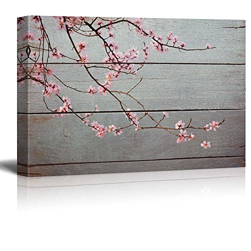 Sweeping Branch with Pretty Pink Blossoms Rustic Floral Arrangements Pastels Colorful Beautiful Wood Grain Antique