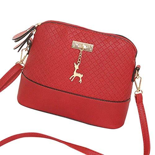 Moontang Borse a tracolla in pelle vintage PU per donna (Colore : Rosso, Dimensione : -) Rosso