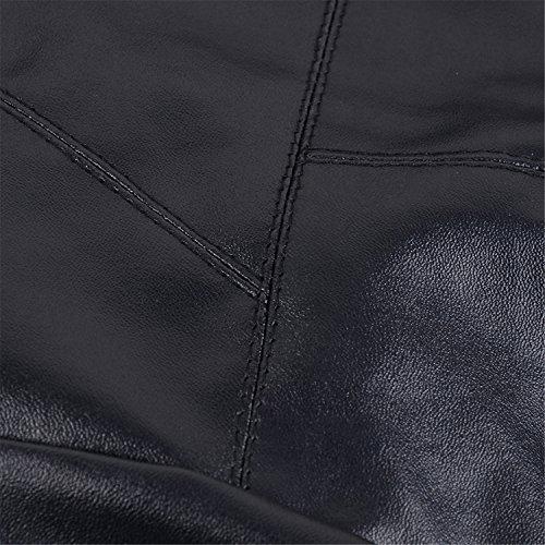 Col Top Haut Noir Jacket Zippé Large De Faux Veste Motorcycle Lapel Notch Blouson Motard Motorbike Cuir Asymétrique wZqaHx6wY