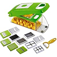 ASPERIA Multi-Purpose Plastic Vegetable and Fruits Grater, Chipser Chopper, Slicer, Cutter and Dicer with 11 Stainless Steel Blades and 1 Pillar, Vegetable Chopper, Vegetable Cutters, Vegetable Chopper For Kitchen, Vegetable Cutters For Kitchen