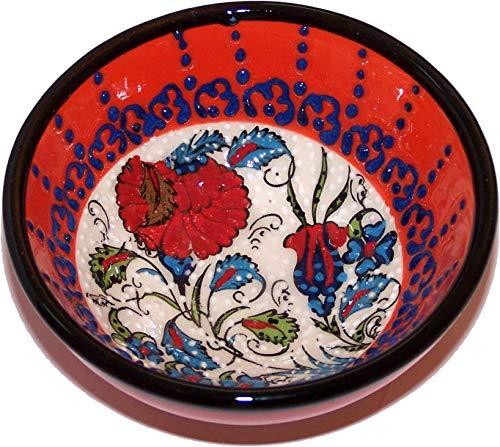 (Holy Land Market Turkish Ceramic Bowl - Orange Motif - 3 inches)