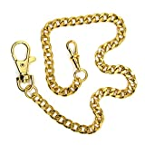 Pocket Watch Chain Gold Plated Curb Link Fob Brass Chain with Lobster Clasp FC02