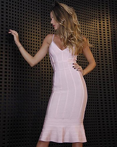 Sirène Fines Bretelles Femmes Maketina Profond Col V Club Midi Cocktail Robe Bandage Moulante Rose De