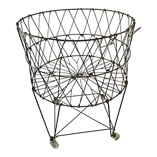 Round rolling laundry basket with wheels do it yourselfore moda home vintage reproduction collapsible rolling metal laundry basket solutioingenieria Image collections
