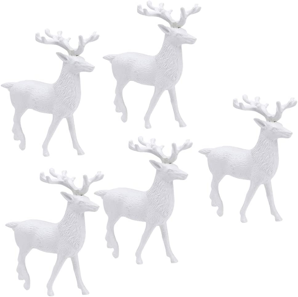 ABOOFAN 5Pcs Christmas Reindeer Figurines White Mini Deer Statue Miniature Ornaments Table Decoration Cake Toppers for Christmas Craft DIY Party Garden Yard Decor Supplies 5.5 Inches