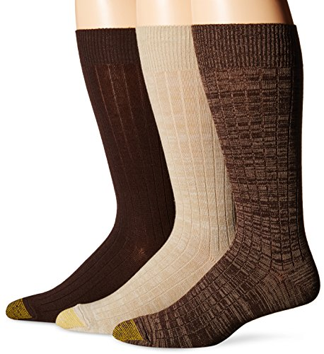 Acrylic Rib Socks (Gold Toe Men's Johnny Rib Crew Socks, Taupe Oatmeal Brown, Sock Size:10-13/Shoe Size: 6-12 (Pack of 3))