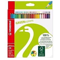 Cartera de lápices de color verde Stabilo, set de 24, multicolor
