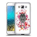 Official Monika Strigel Wolf Animals And Flowers Soft Gel Case for Samsung Galaxy E5