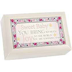 Sweet Baby You Jeweled Ivory Jewelry Music Box - Plays Tune You Are My Sunshine