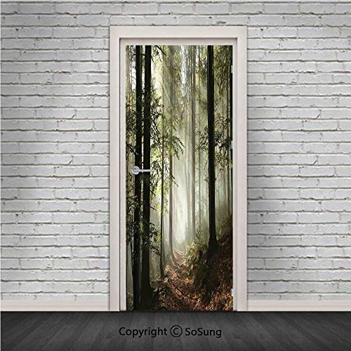 (Farm House Decor Door Wall Mural Wallpaper Stickers,Dark Forest Route Surrounded by Fog in the Sunshine Day Time in Mother Earth Image,Vinyl Removable 3D Decals 30.4x78.7/2 Pieces set,for Home Decor G)