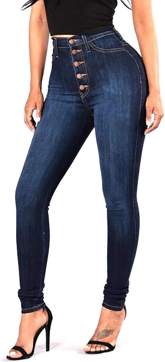 Pantalones Jeans Skinny De Mujer Cintura Alta Elasticos Vaqueros Levanta Cola At Amazon Women S Jeans Store
