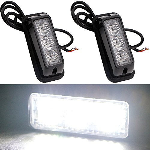 EverBrightt 2-Pack White 3 LED Car Flash Light DRL Truck Emergency Strobe Flash Warning Light DC 12V-24V