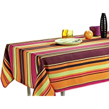 "60 x 120-Inch Rectangular Tablecloth Orange Pink Purple Disco Stripe, Stain Resistant, Washable, Liquid Spills bead up, Seats 10 to 12 People (Size Available: 63"" Round, 60 x 80"", 60 x 95"")."