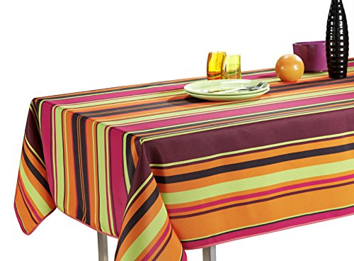 60 x 120-Inch Rectangular Tablecloth Orange Pink Purple Disco Stripe, Stain Resistant, Washable, Liquid Spills bead up, Seats 10 to 12 People (Size Available: 63