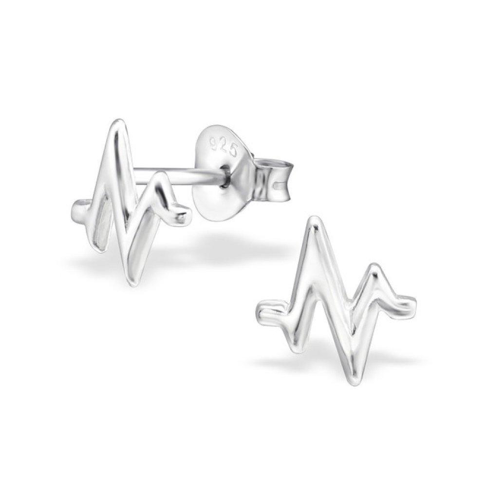 Sterling Silver Pulse Stud Earrings