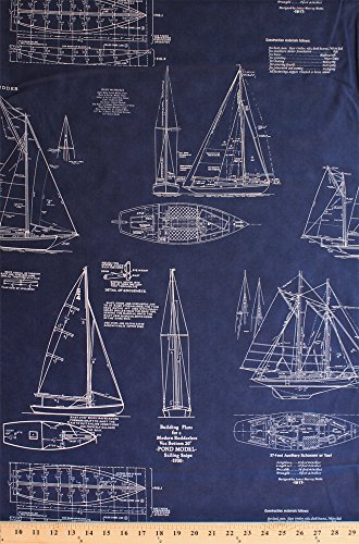 Cotton Sailboats Tall Ships Boats Schooners Building Plans Instructions Models Blueprints Diagrams Snipe 1930 Sailing Sailors Nautical Blue Vintage Passport Cotton Fabric Print by the Yard (Plans Yard)