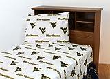 NCAA Cotton Sateen Sheet Set Size: Twin Extra Long, Color: White, NCAA Team: West Virginia