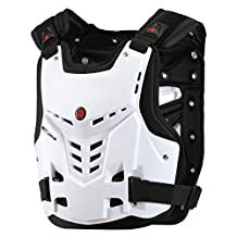 CRAZY AL'S® AM05 Body Armor Professional Motorcycle Motocross Racing Protective Body Armour Armor Jacket Guard Motobike Bicycle Cycling Riding Motocross Gear for SOYCO Black White M/L/XL (L, White)