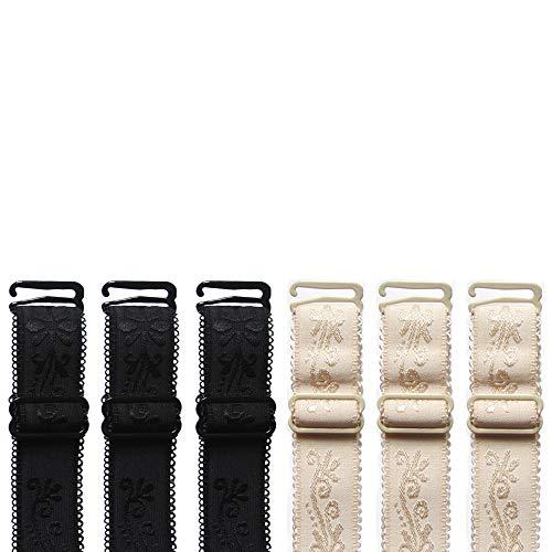 - AdGenmoral 6 Pair / 9 Pair justable Bra Accessories Strap Adjustable Replacement Embroidery Shoulder Belt (6 Pair (Black+Beige), 1.8CM Width)