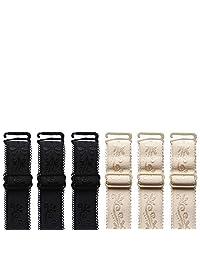 Genmoral 6 Pair / 9 Pair Adjustable Bra Strap Replacement Embroidery Shoulder Belt Bra Accessories Width 1.5cm or 1.8cm (6 Pair (Black+Beige), 1.8CM Width)