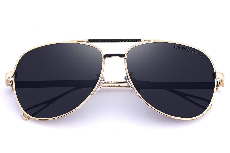 eebc9c5b12f Amazon.com  MERRY S Sunglasses for Men Polarized Metal Frame Driving Sun  Glasses UV 400 Lens Protection 8404 (Black Gold
