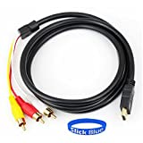 SlickBlue 5Ft 1.5m HDMI To 3-RCA Video Audio Signal Transmitter Male Extension Adapter Cable For HDTV DVD