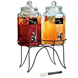 Durable Hexagon Design Twin Beverage Drink Dispenser on Metal Stand - 1 Gallon Each Jug - Erasable Chalkboard Hanging Sign with Liquid Chalk Marker for Home Bar & Party Drink Dispenser