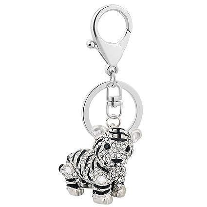 Animal Key Ring Ceative Cute Keychain Crystal Rhinestone Tiger Key Chain  for Girls Handbag Jewelry&Clothing Accessories(Grey Keychain)