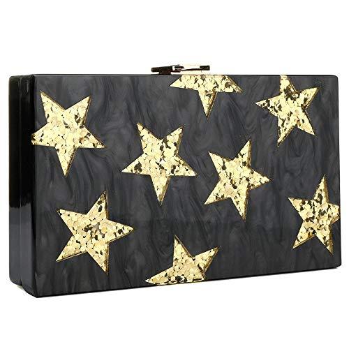 IBELLA Evening Handbag Box Acrylic Clutch Stripes Shoulder Bag for Party (Black) ()