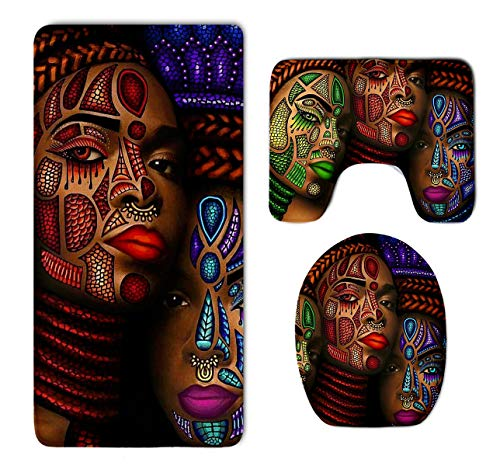 (Luxurious Bathroom Rug Shag African American Woman Girl Graffiti Print Super Absorbent Toilet Floor Mat - 3 Pack Memory Foam Non Slip Bath Mats Quick Dry Rug Sets Bath Room)