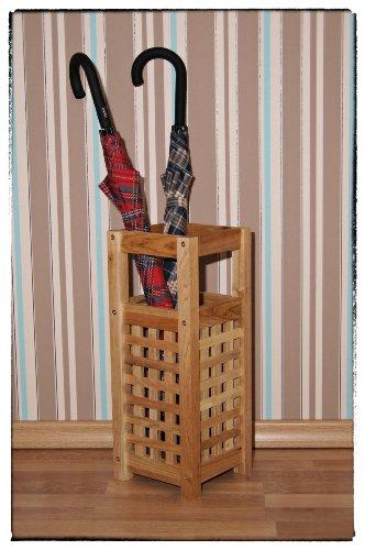 Schirmständer aus Walnussholz im Gitterdesign