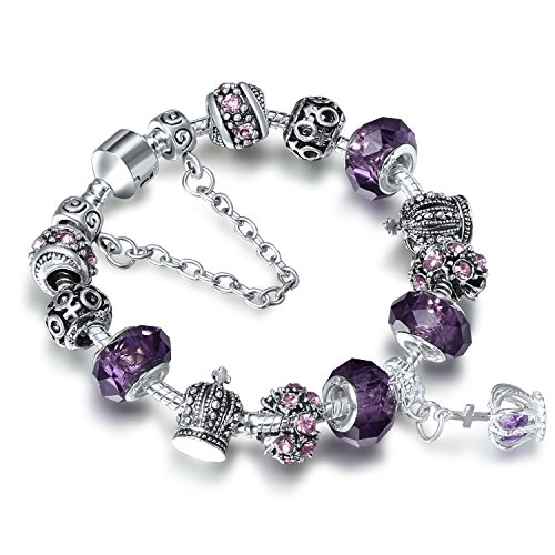 Murano Crystal Pendant (A TE Charm Bracelet Purple Crystal and Murano Glass Beads Crown Pendant JW-B70)