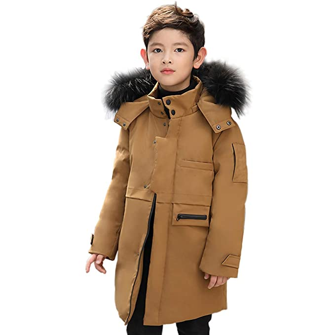 8ce6a2bf5a45 Image Unavailable. Image not available for. Colour: KVbaby Boys Winter Coat  Parka Jacket Faux Fur Quilted Down Hooded Jacket Outwear Warm Kids Long