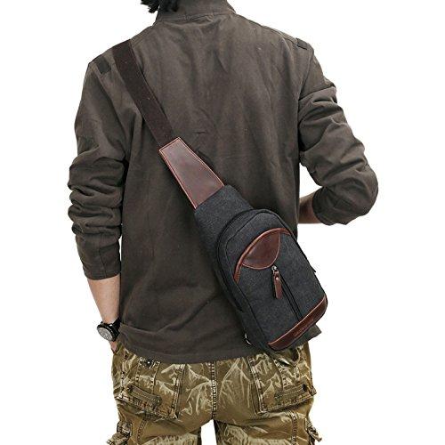 del Brown De YXLONG Nuevo Bolso Pecho del black Lona Nuevos Bolso del La De Multifuncional Funciones Los Coreanos Bolso del Pecho Coreano Hombres De Bolso Múltiples waXaFSxq