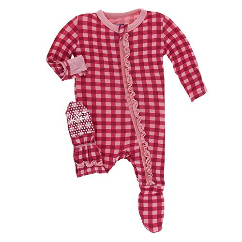 Kickee Pants Little Girls Print Muffin Ruffle Footie With Zipper - Flag Red Gingham, 6-9 Months