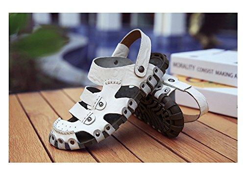 Hand zu bauen Echtleder Männer Sandalen Strand Schuh Umweltschutz Dualer Gebrauch Sandalen ,Weiß,US=8,UK=7.5,EU=41 1/3,CN=42