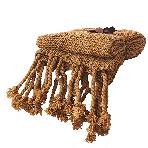 Choix Thick Needle Tassels Knitted Throws Blanket Bedding Fleece Reversible Bed Blanket Extra Soft Brushed Microfiber Décor Blanket(51''x67'',Khaki) ()