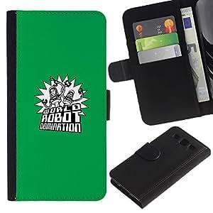YiPhone /// Tirón de la caja Cartera de cuero con ranuras para tarjetas - Mundial Robot Dominación - Samsung Galaxy S3 III I9300