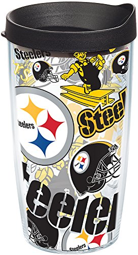 (Tervis 1248051 NFL Pittsburgh Steelers All Over Tumbler with Wrap and Black Lid 16oz, Clear)