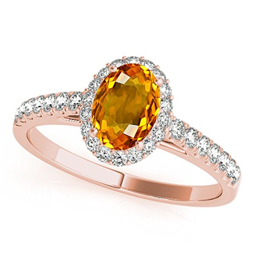 Citrine Shaped Oval Ring (1.75 Ct. Ttw Diamond And Oval Shaped Citrine Ring in 10K Rose Gold)