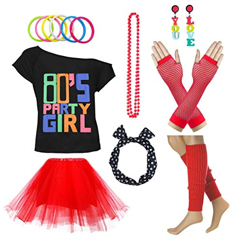 Xianhan 1980s Outfit 80's Party Girl Retro Costume Accessories Outfit Dress for 1980s Theme Party Supplies (XL/XXL, Red)