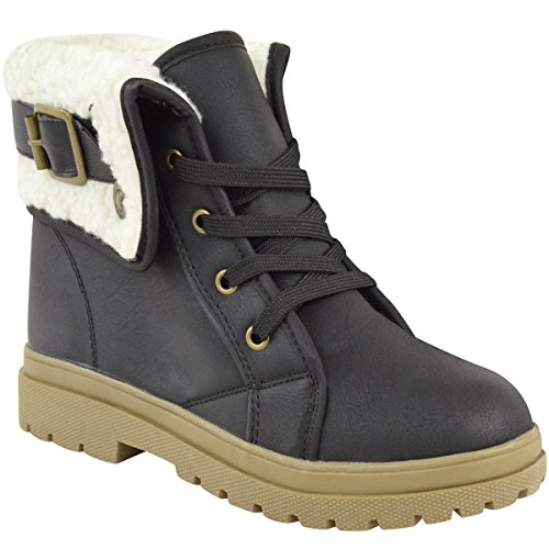 Fashion Thirsty Womens Army Flat Combat Grip Sole Faux Fur Lined Winter Snow Ankle Boots Shoes Size