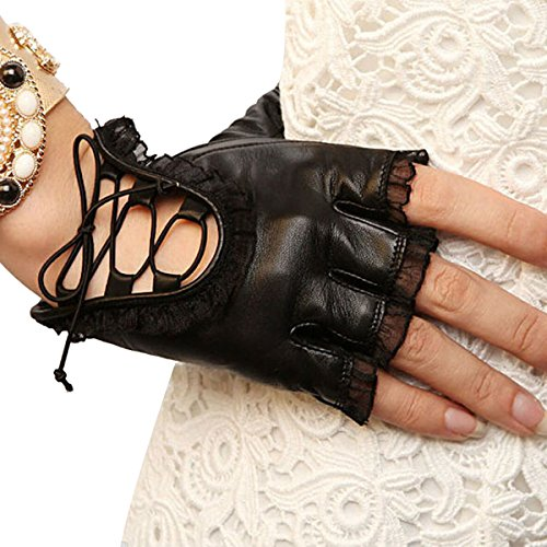 (Womens Lace Fingerless Gloves PU Leather Cosplay Costume Party Black S-M Size )